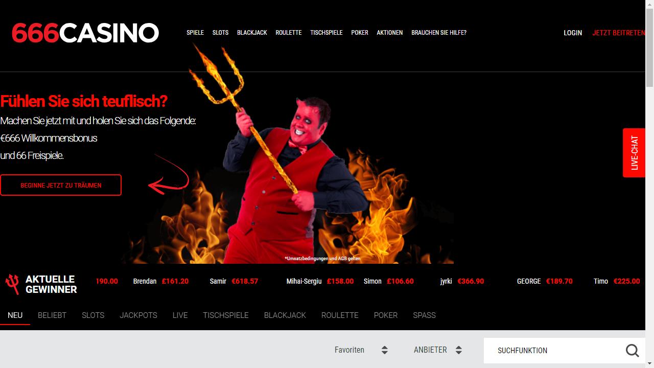 666Casino Homepage