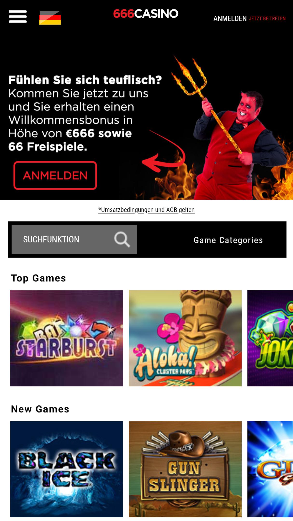 666Casino App Homepage