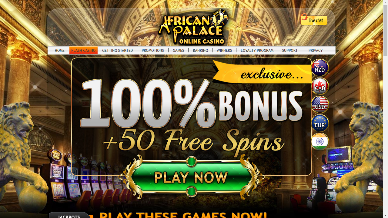 African Palace Casino Homepage