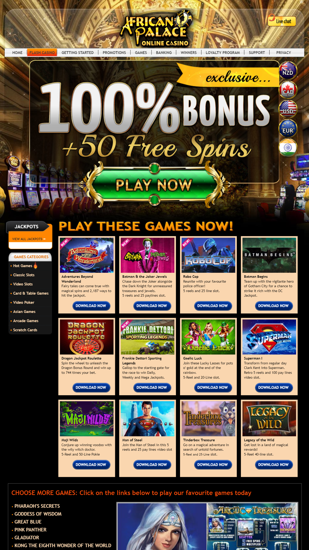 African Palace Casino App Homepage