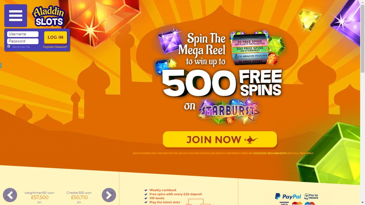 Aladdin Slots Homepage
