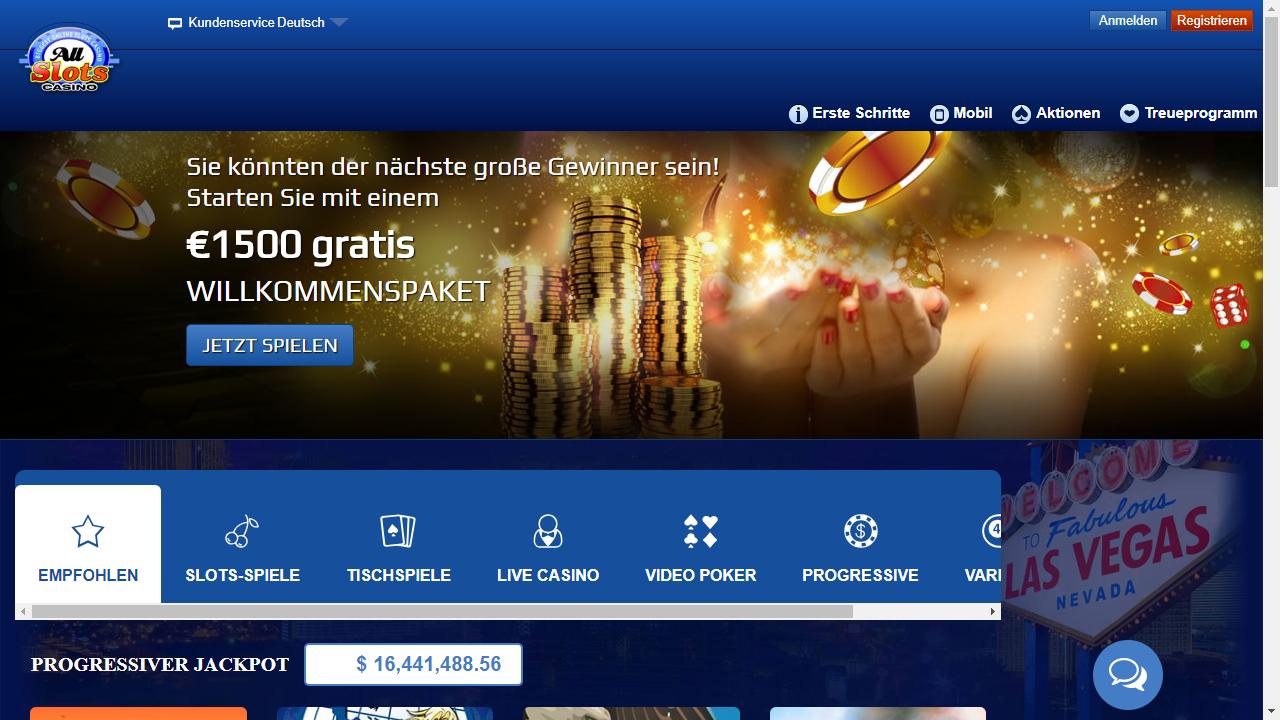 All Slots Casino Homepage
