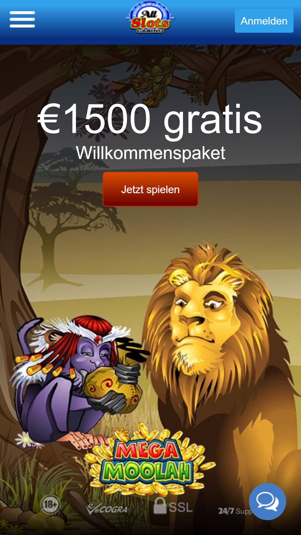 All Slots Casino App Homepage