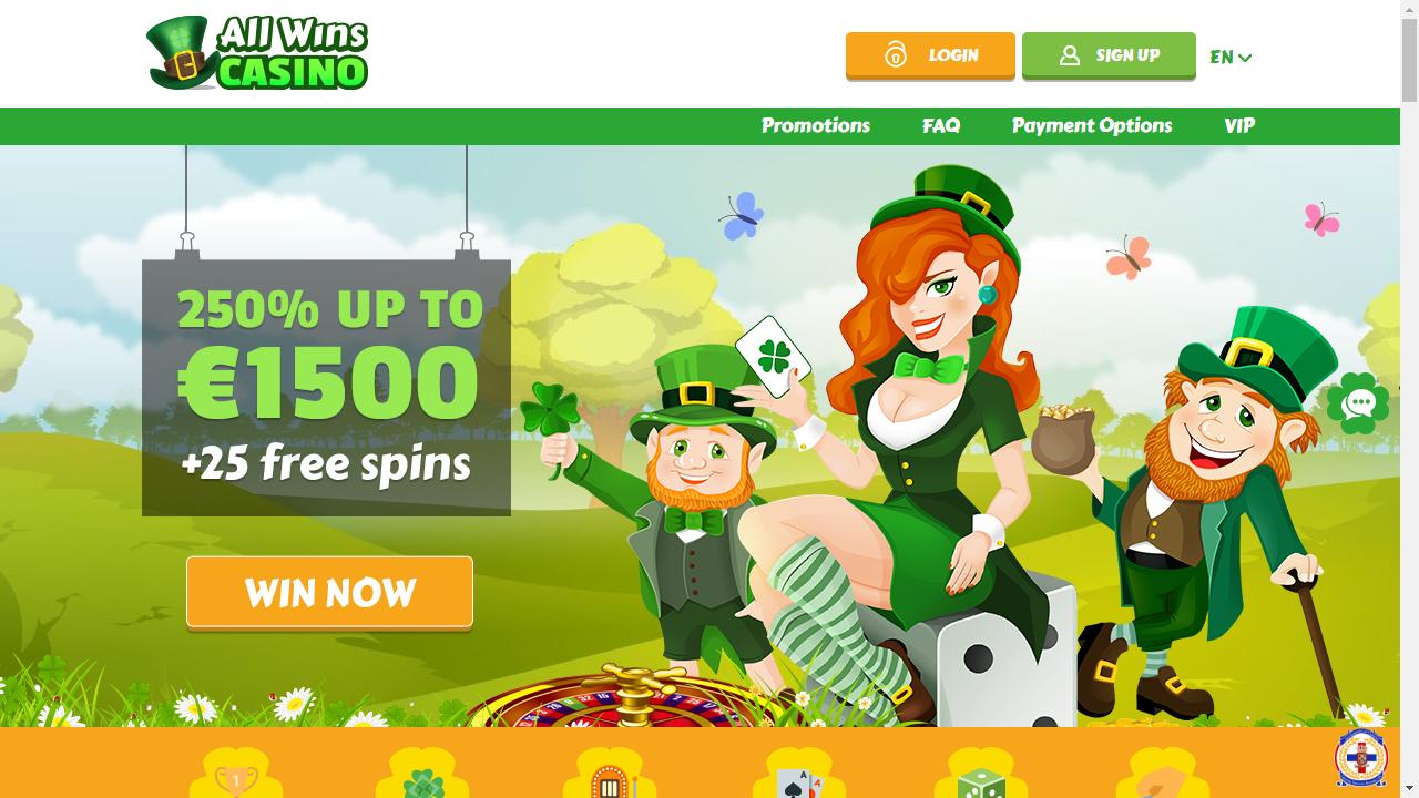 All Wins Casino Homepage