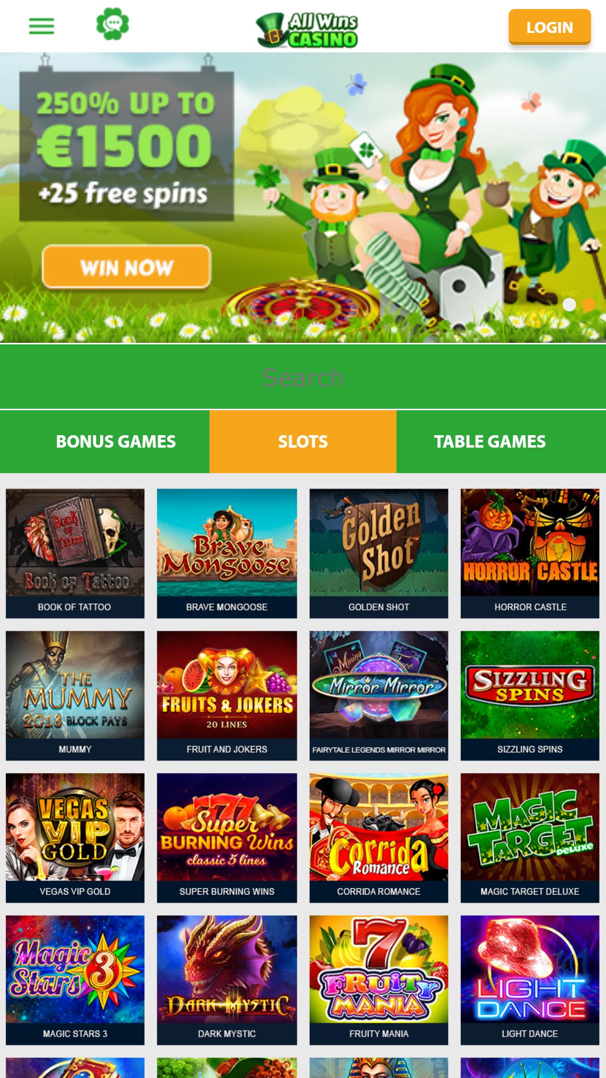 All Wins Casino App Homepage