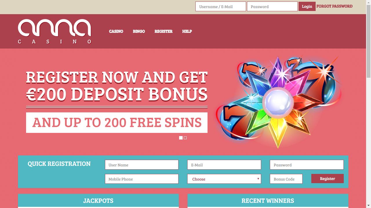 Anna Casino Homepage