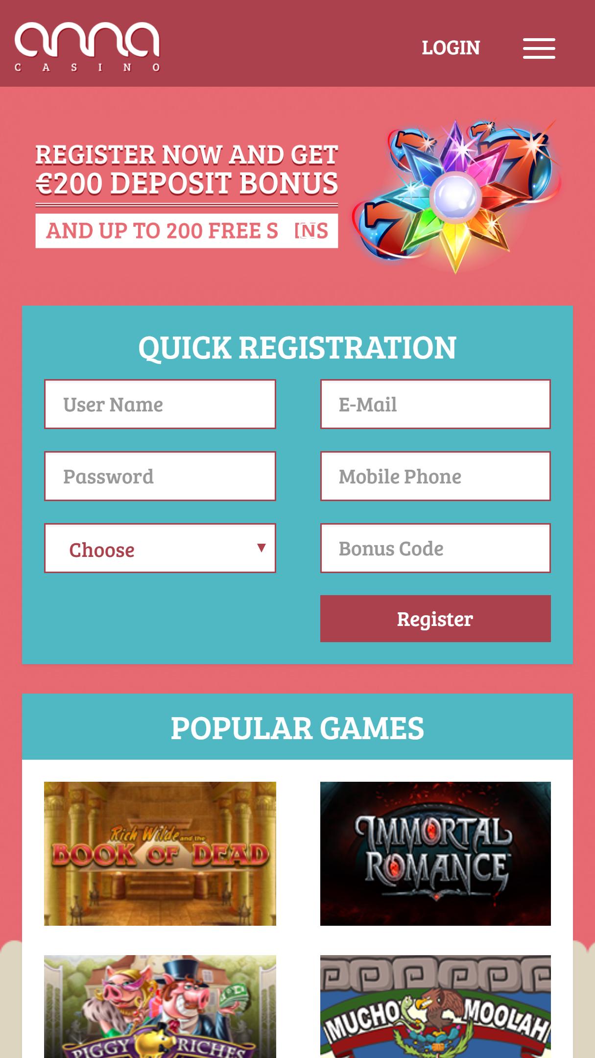 Anna Casino App Homepage