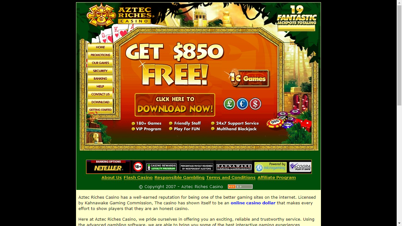 Aztec Riches Casino Homepage