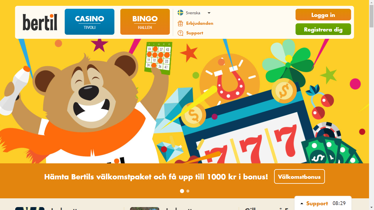 Bertil Casino Homepage