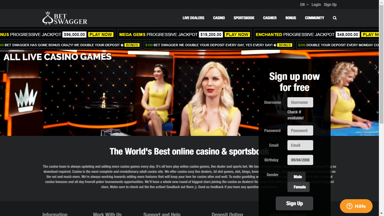 Bet Swagger Casino Homepage