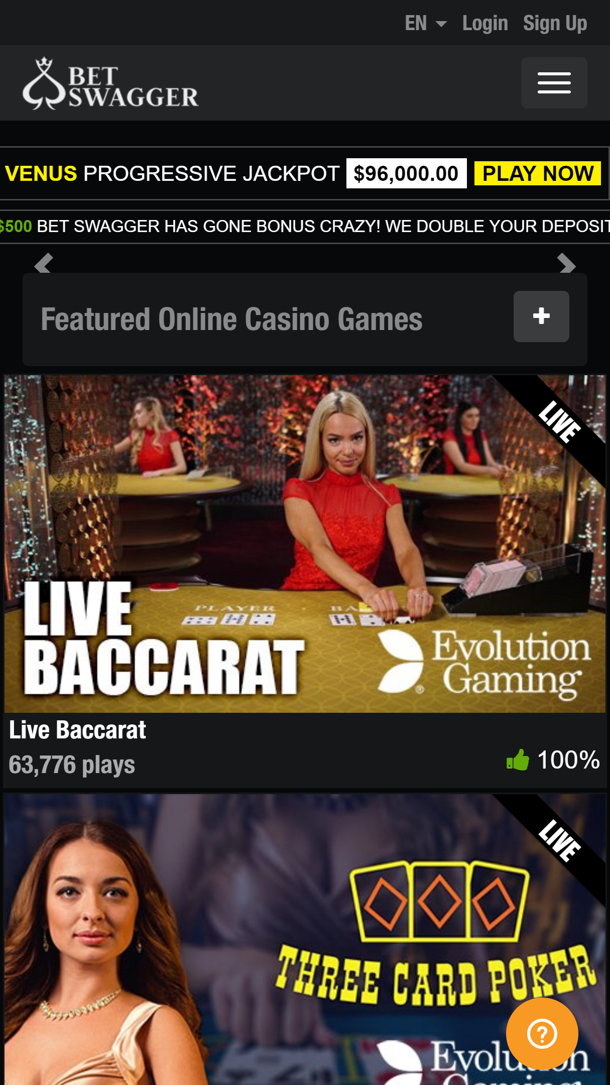 Bet Swagger Casino App Homepage