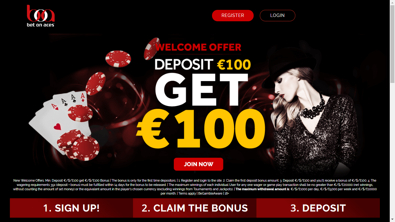 BetOnAces Casino Homepage