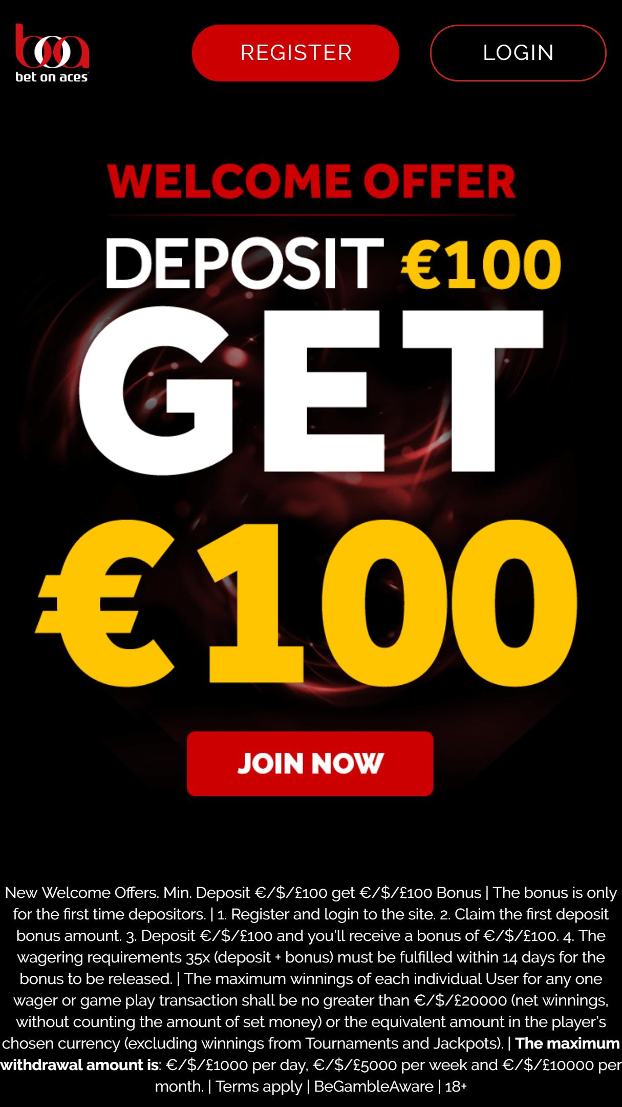 BetOnAces Casino App Homepage