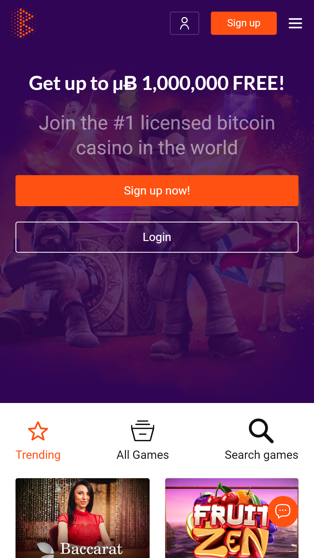 Bitcasino.io App Homepage
