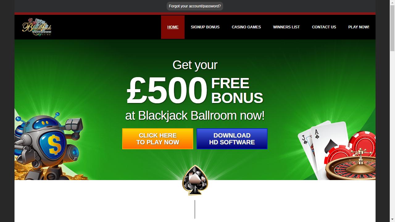 BlackJack Ballroom Casino Homepage