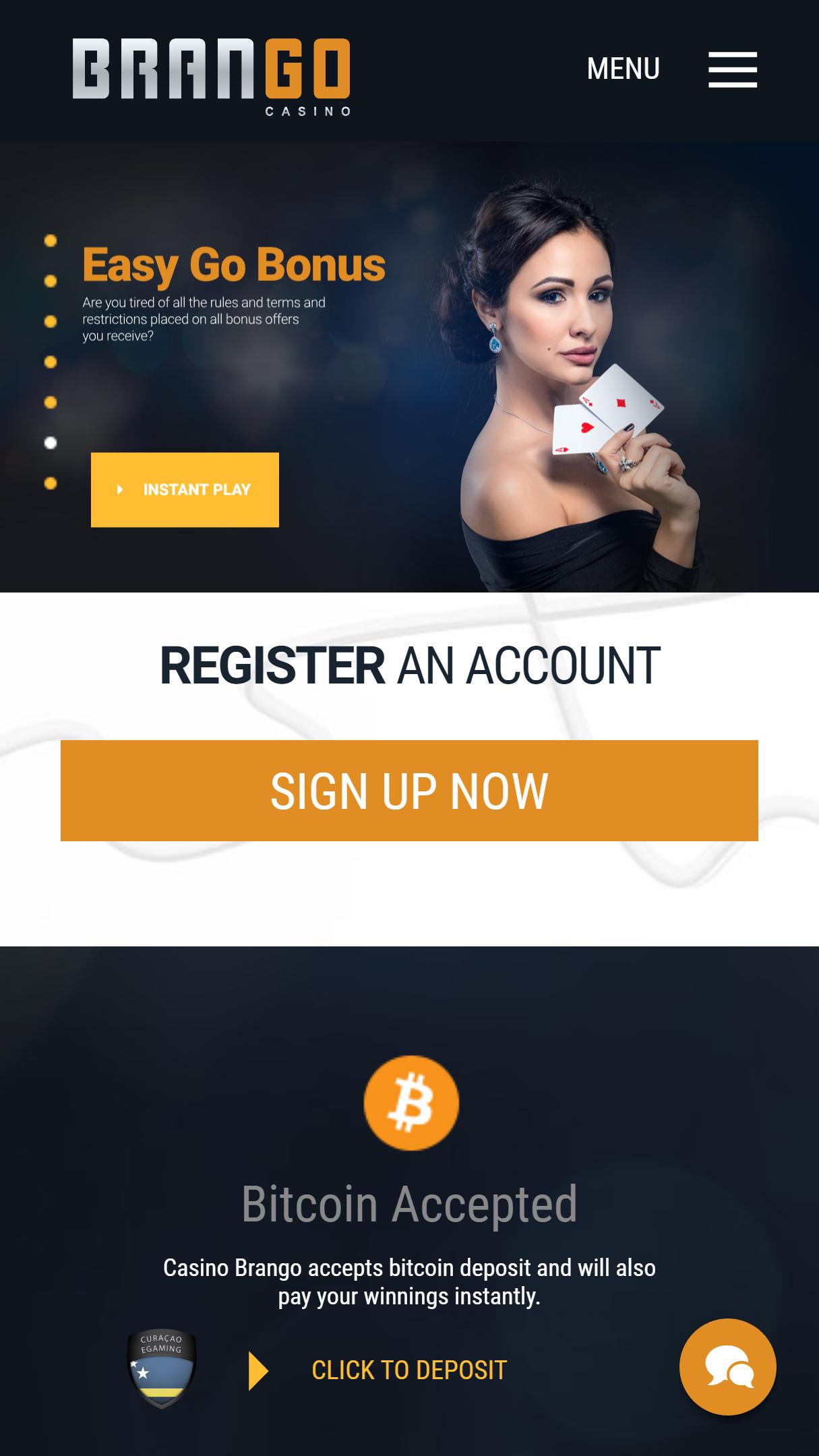 Brango Casino App Homepage