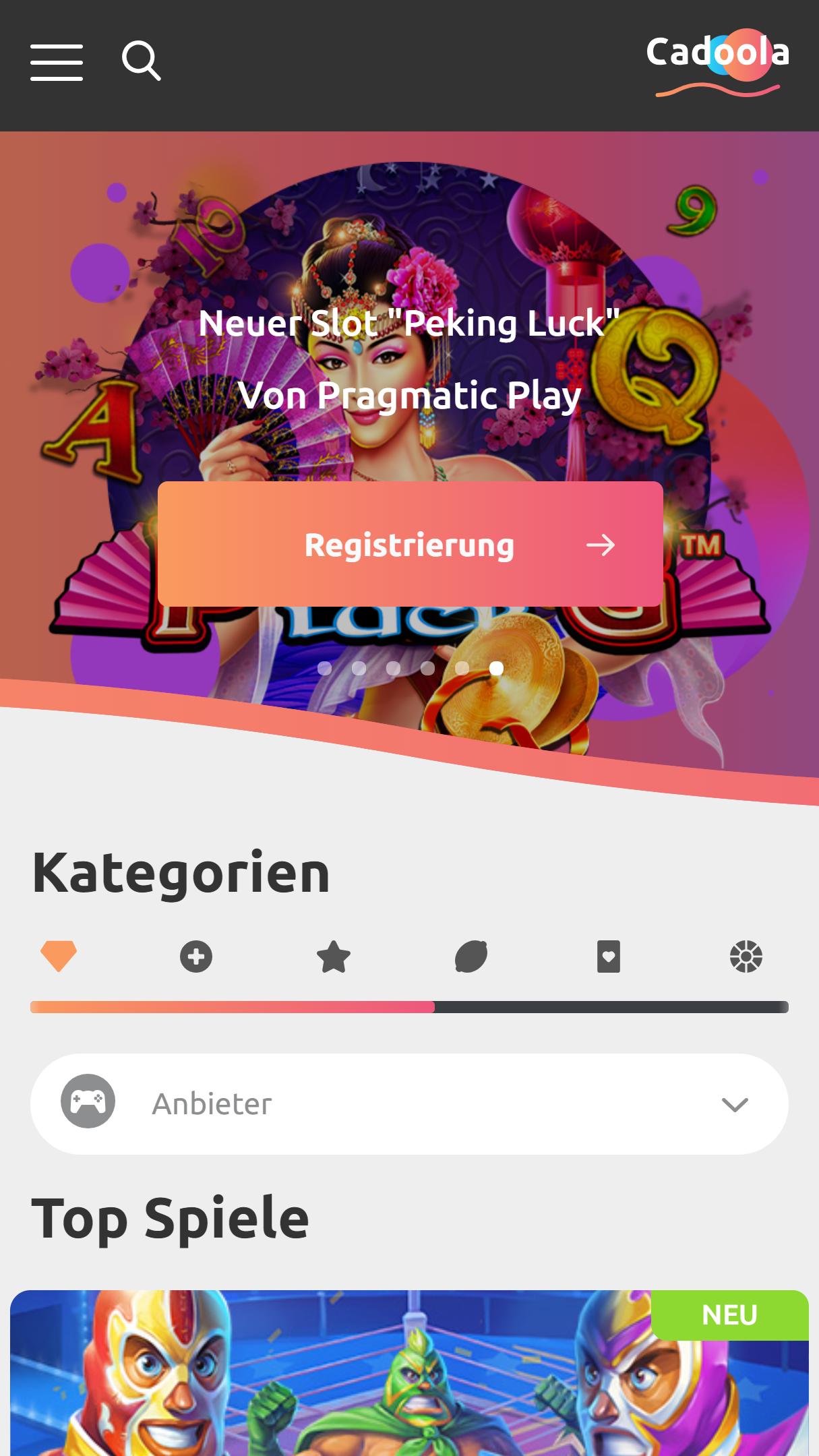 Cadoola App Homepage