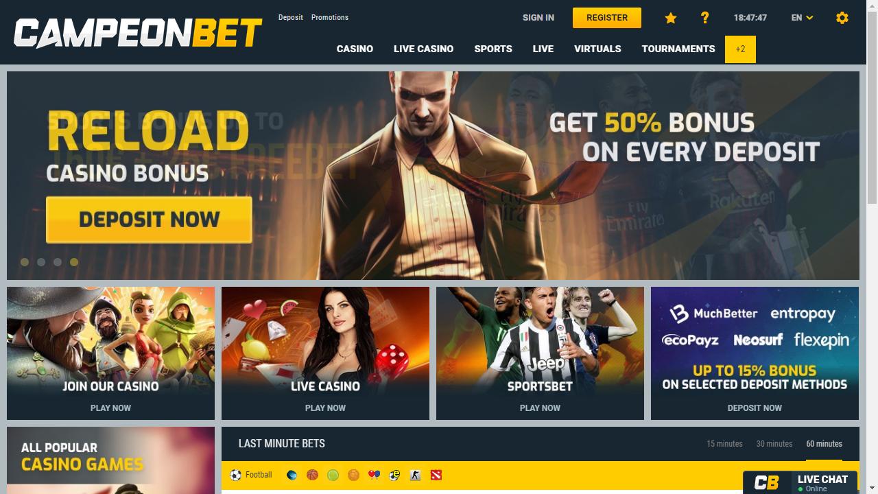 Campeonbet Casino Homepage