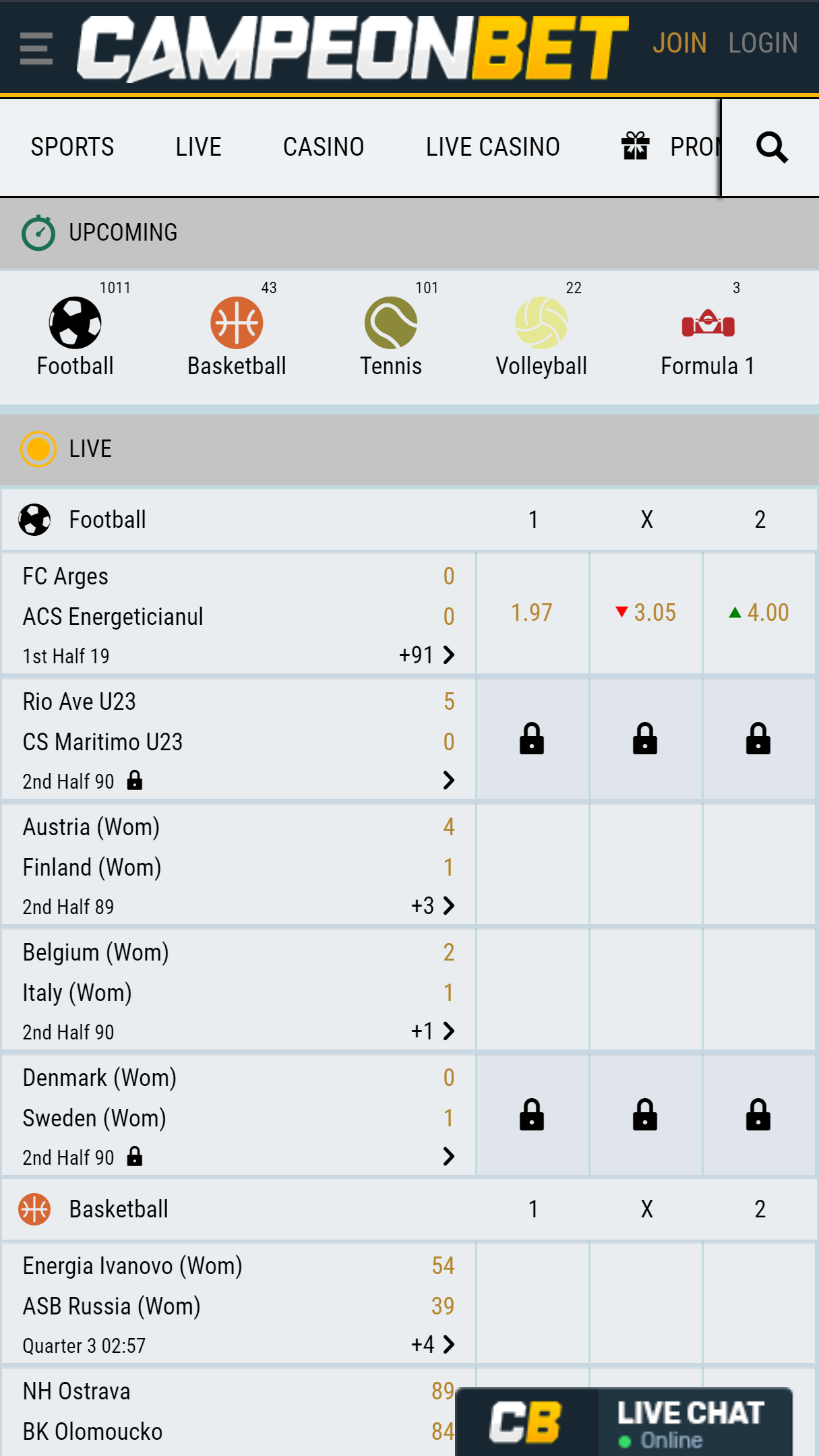 Campeonbet Casino App Homepage