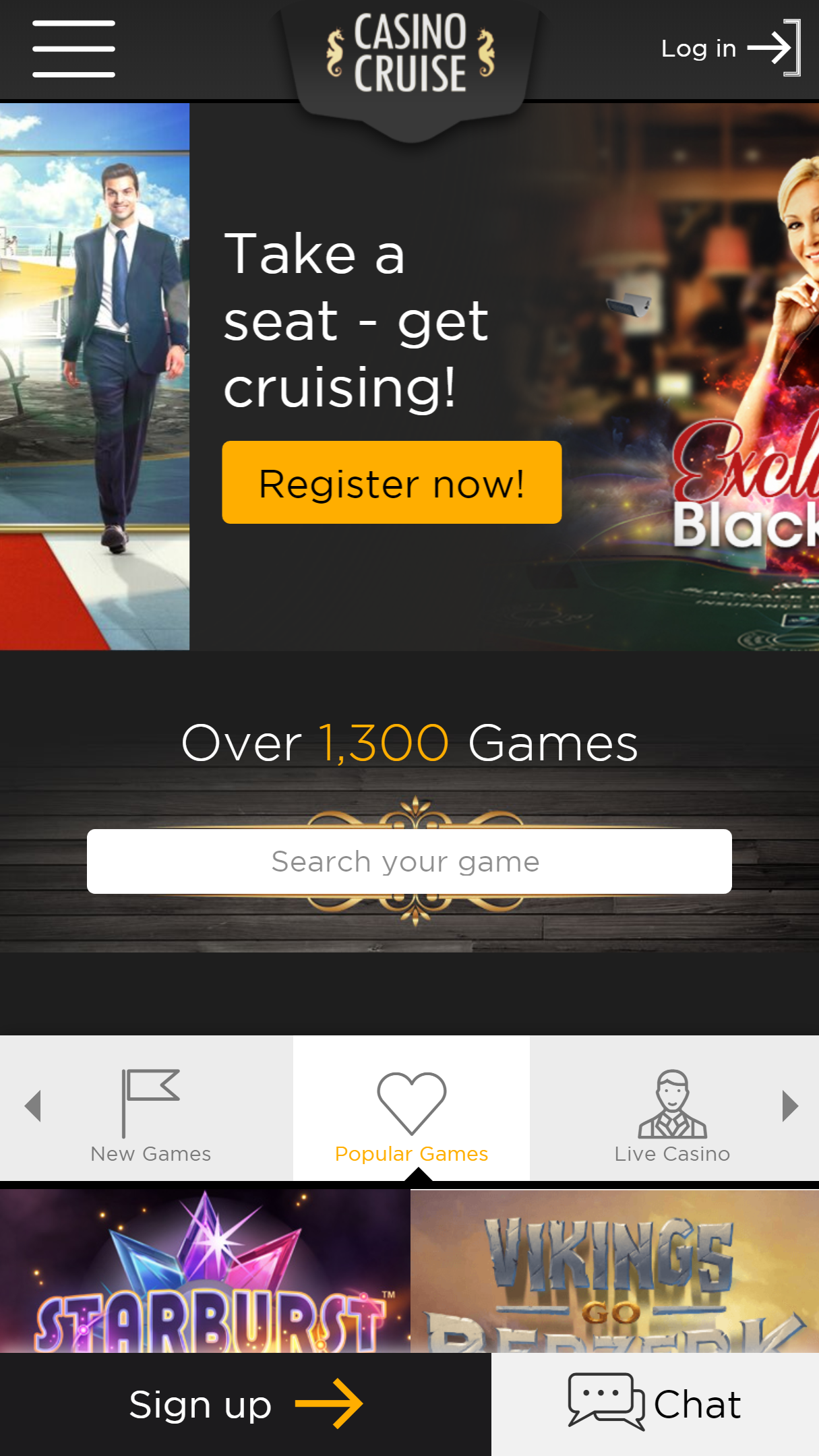 CasinoCruise App Homepage