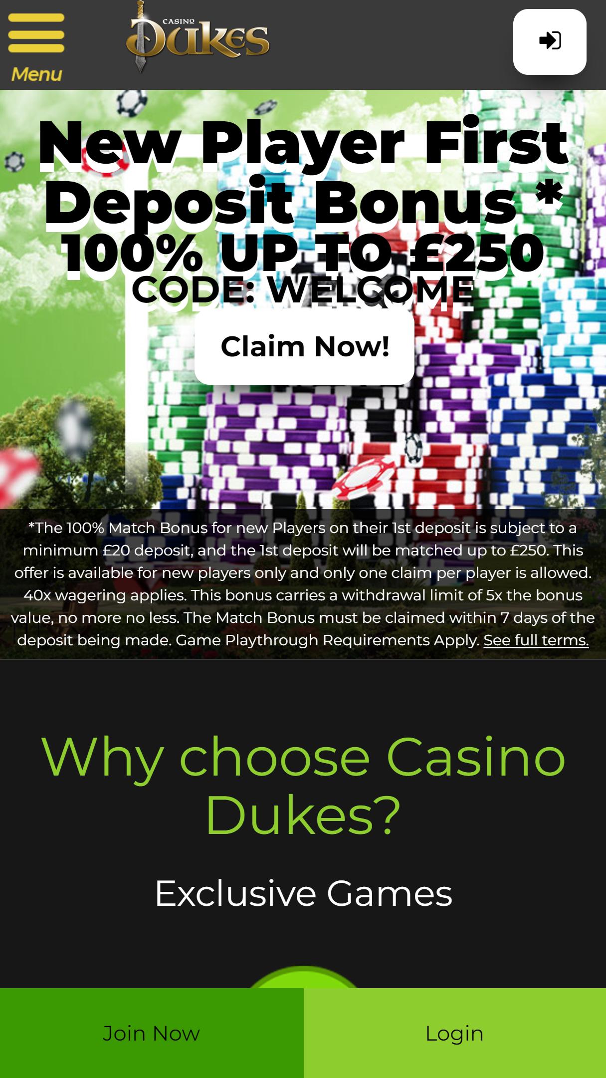 Casino Dukes App Homepage