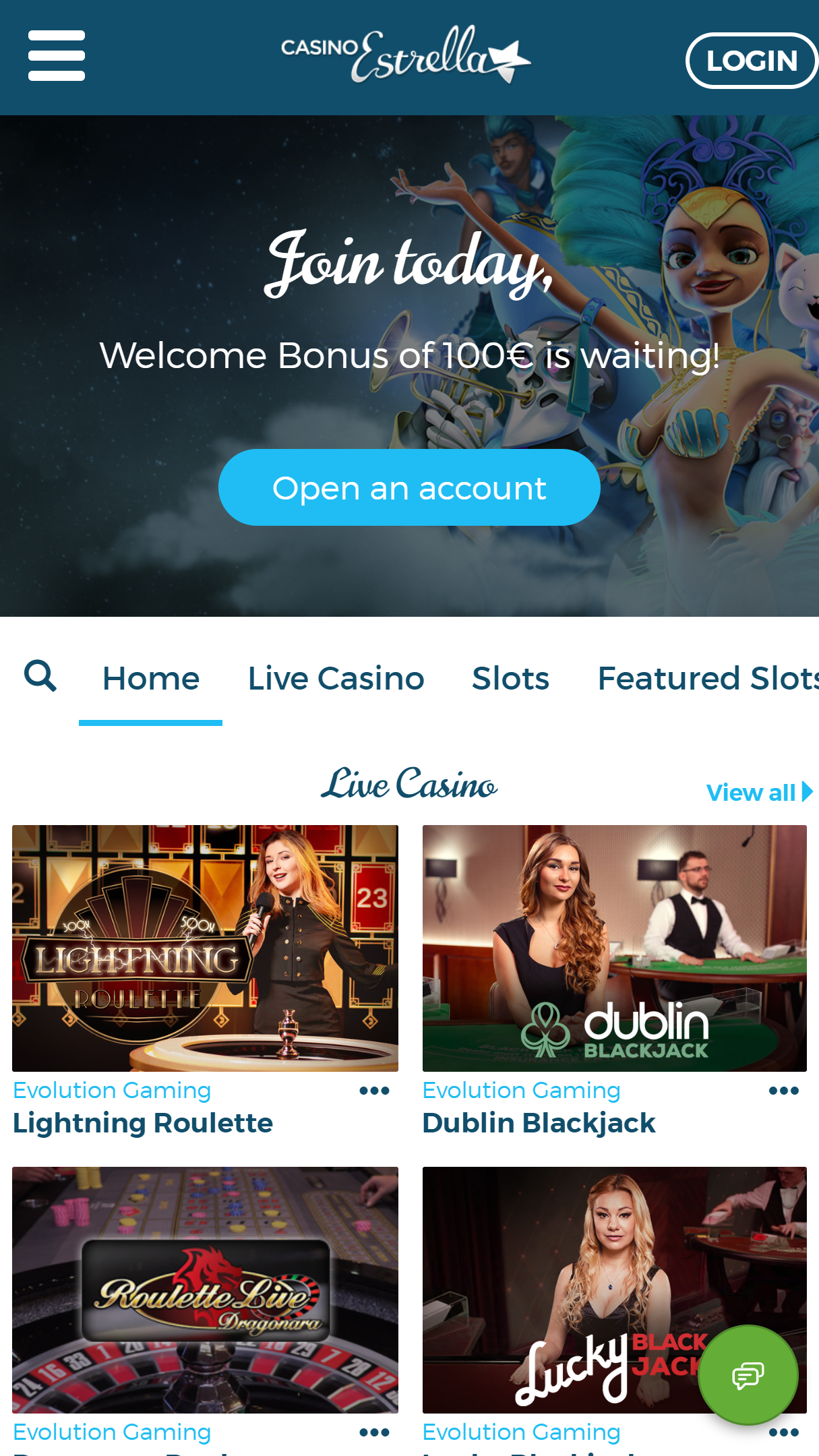 CasinoEstrella App Homepage