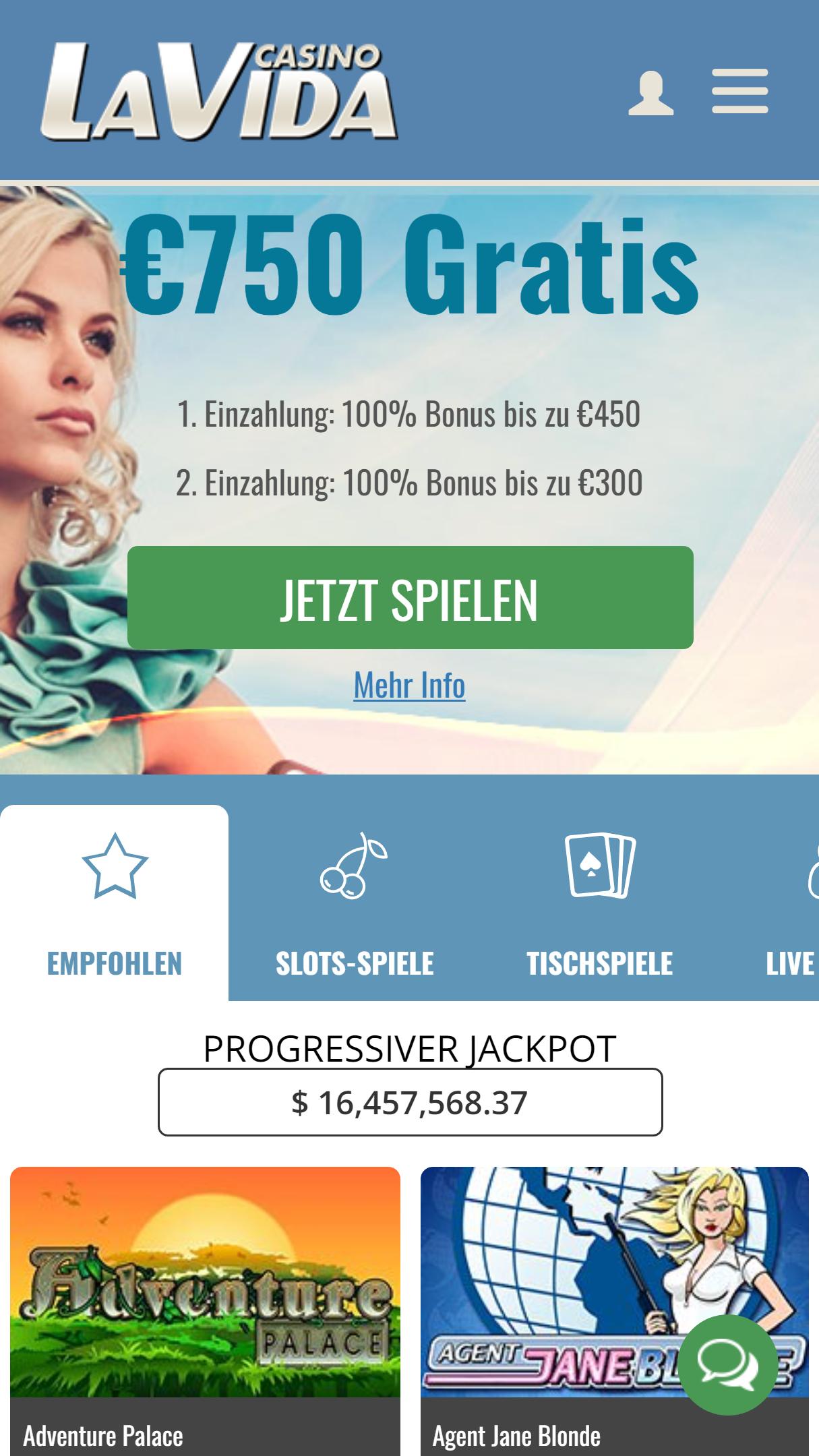 Casino LaVida App Homepage