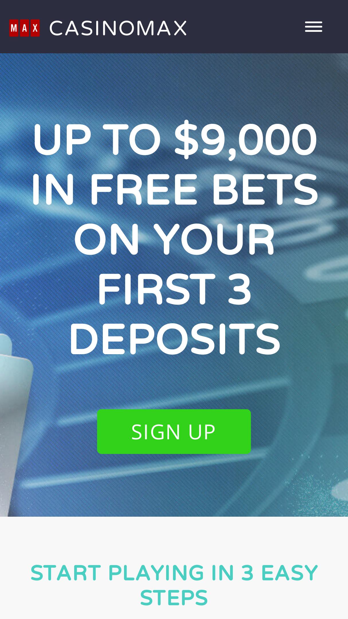 Casino Max App Homepage