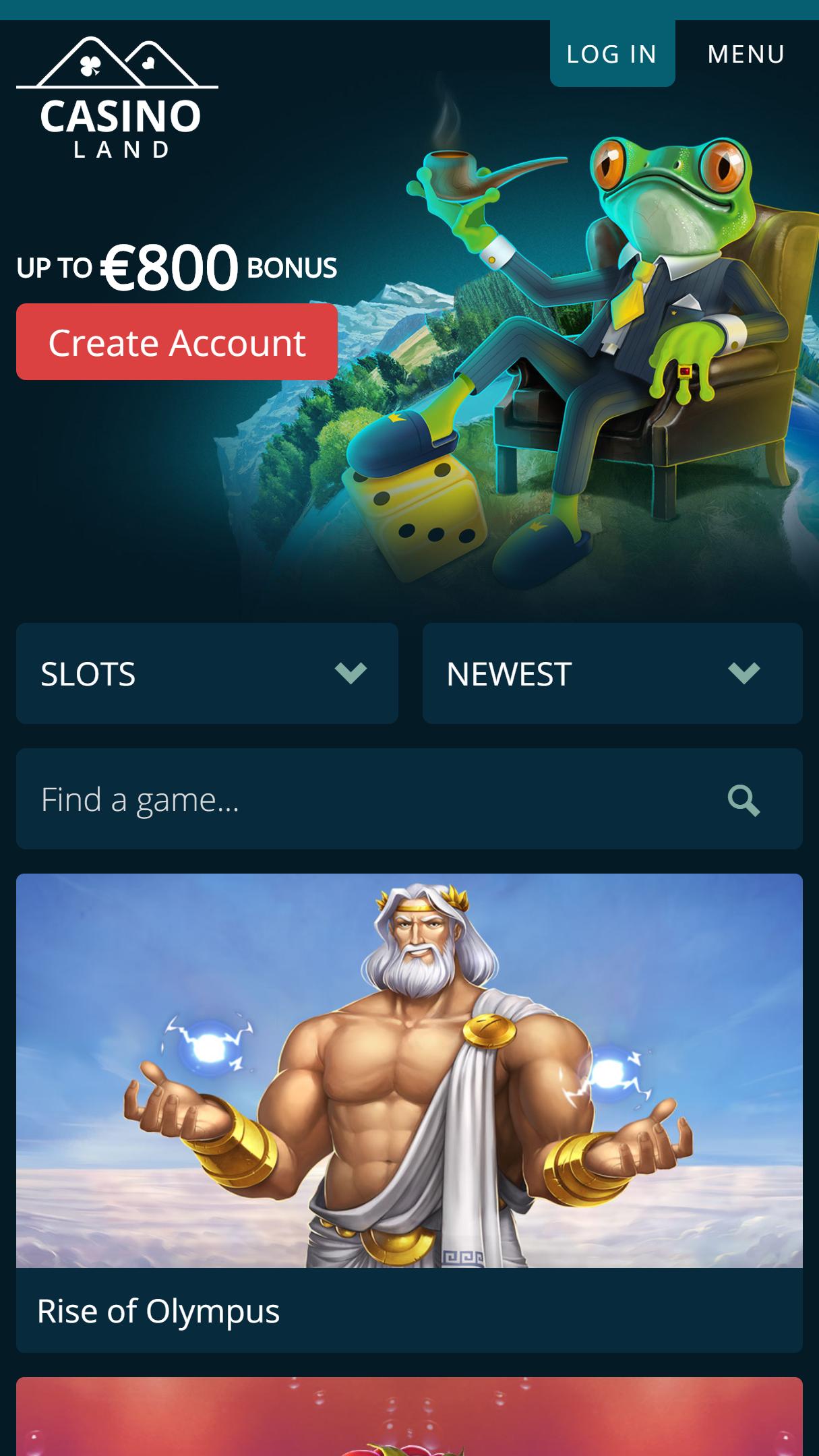 Casinoland App Homepage
