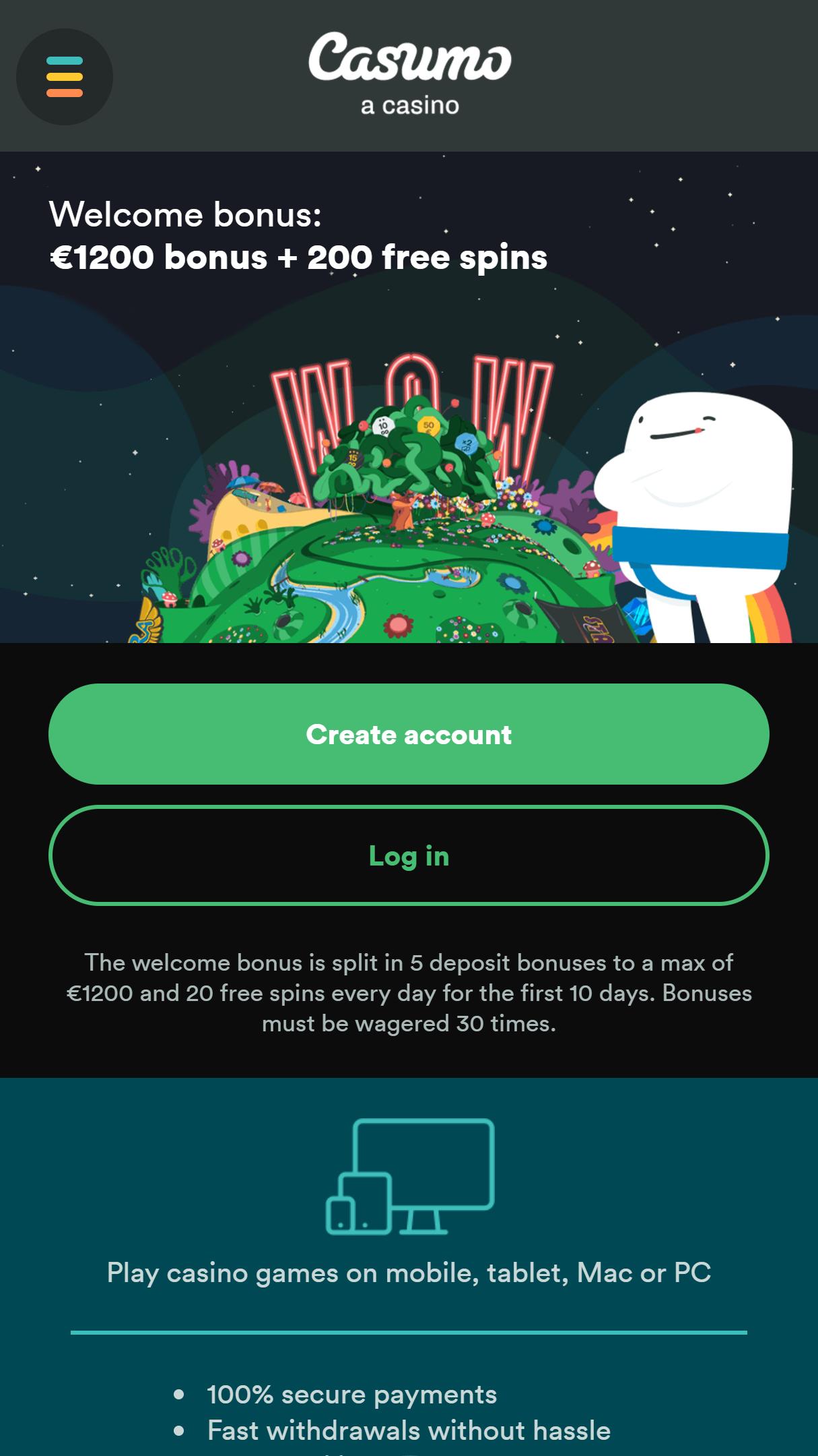 Casumo App Homepage