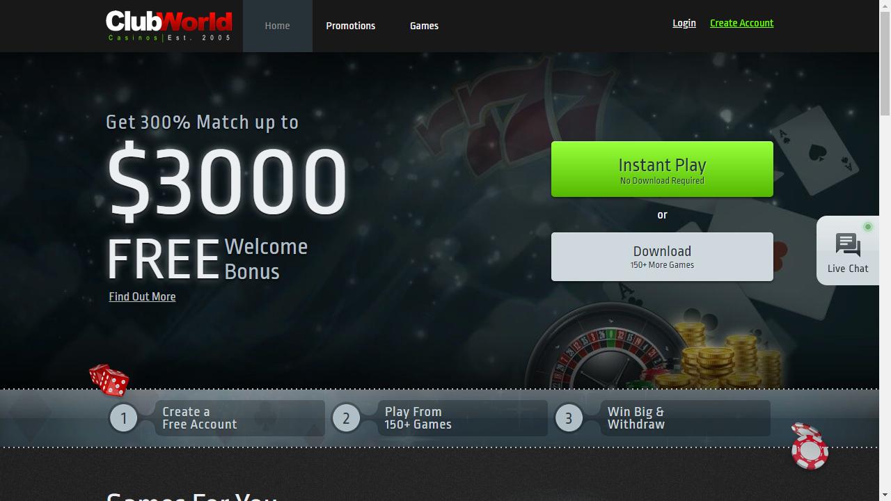 Club World Casinos Homepage