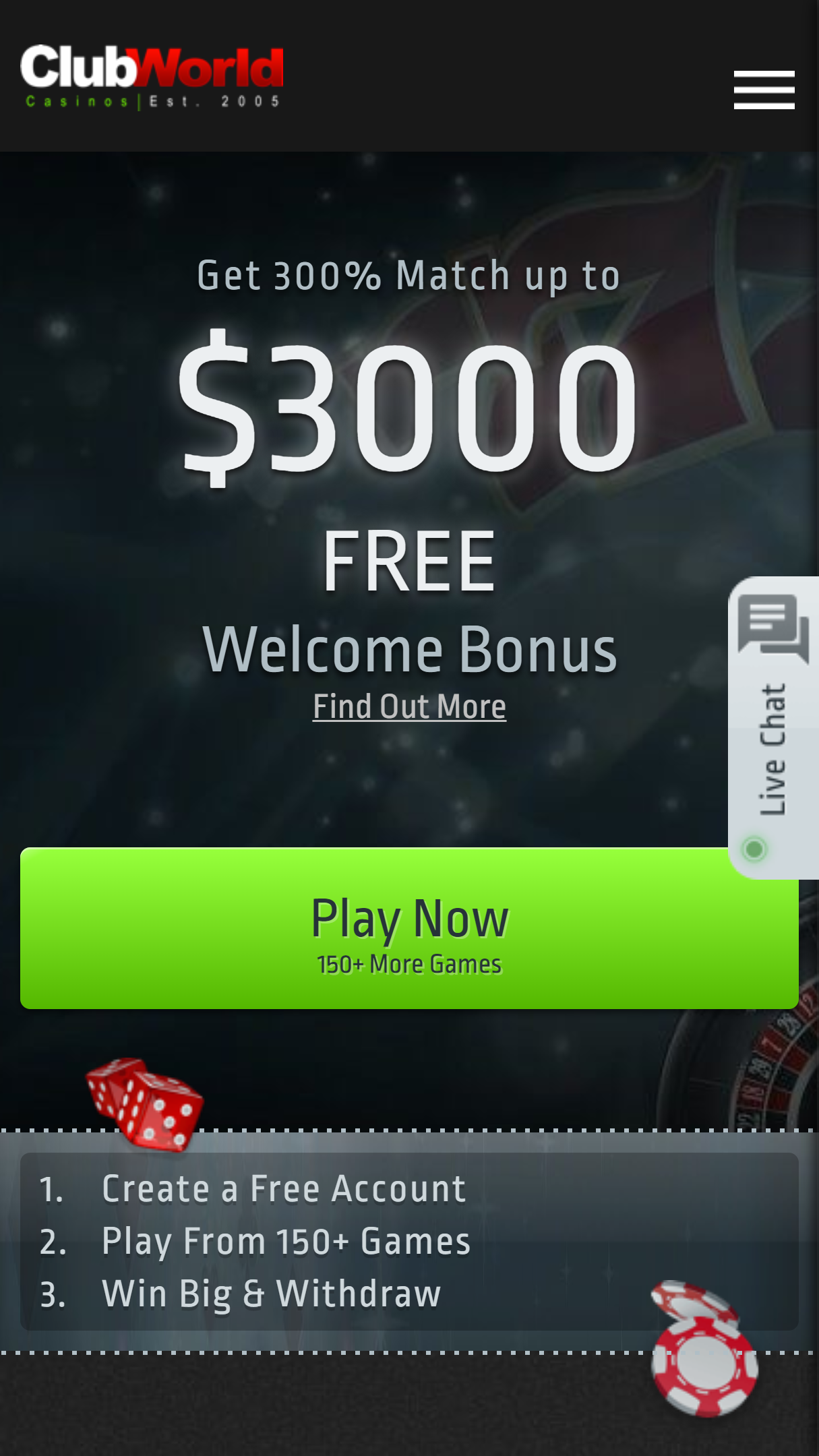 Club World Casinos App Homepage