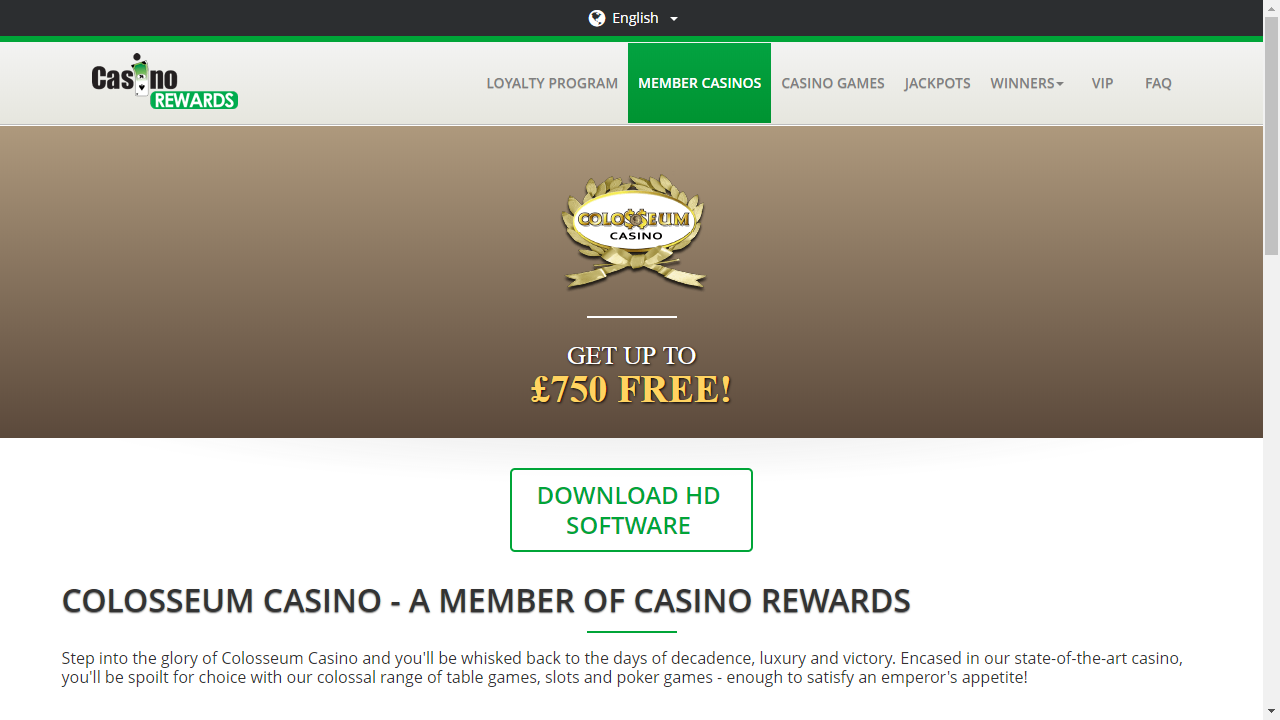 Colosseum Casino Homepage