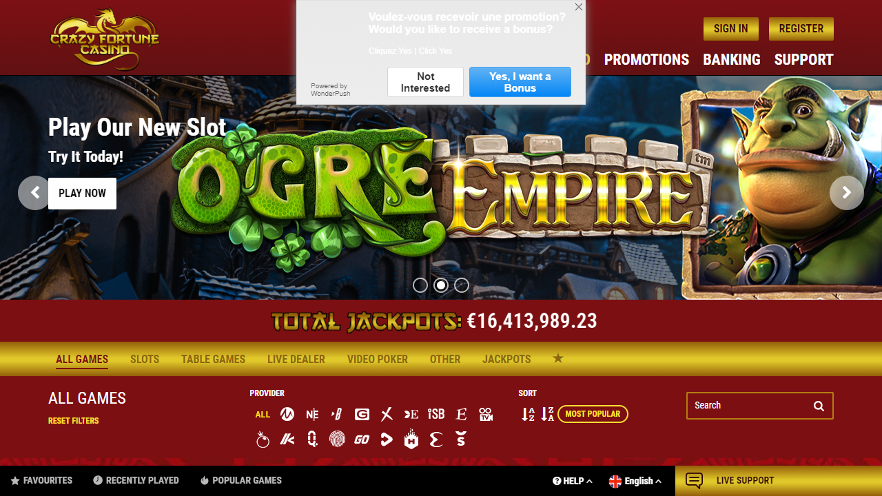 Crazy Fortune Casino Homepage