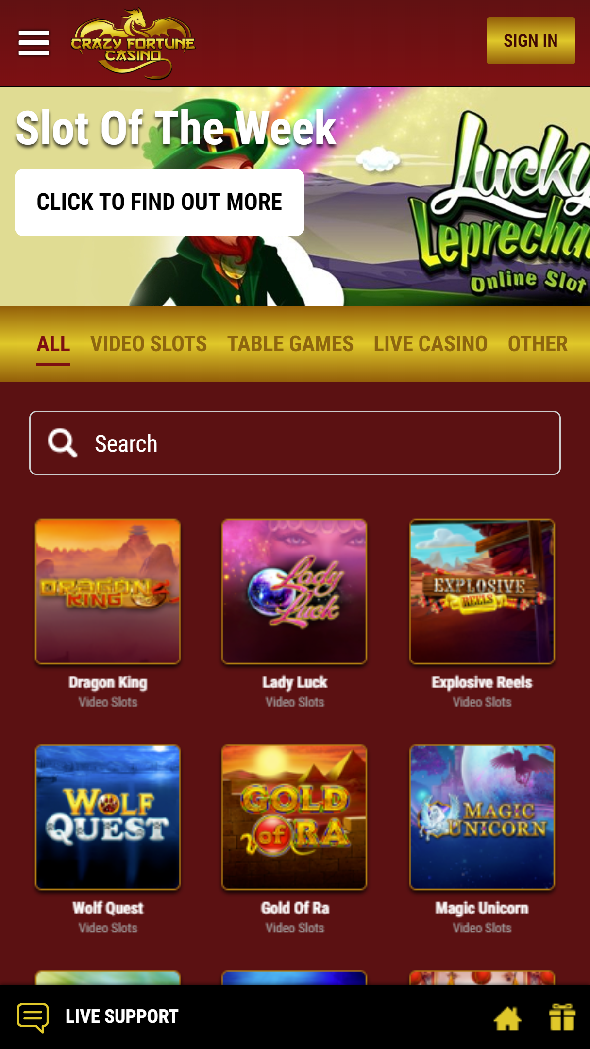 Crazy Fortune Casino App Homepage