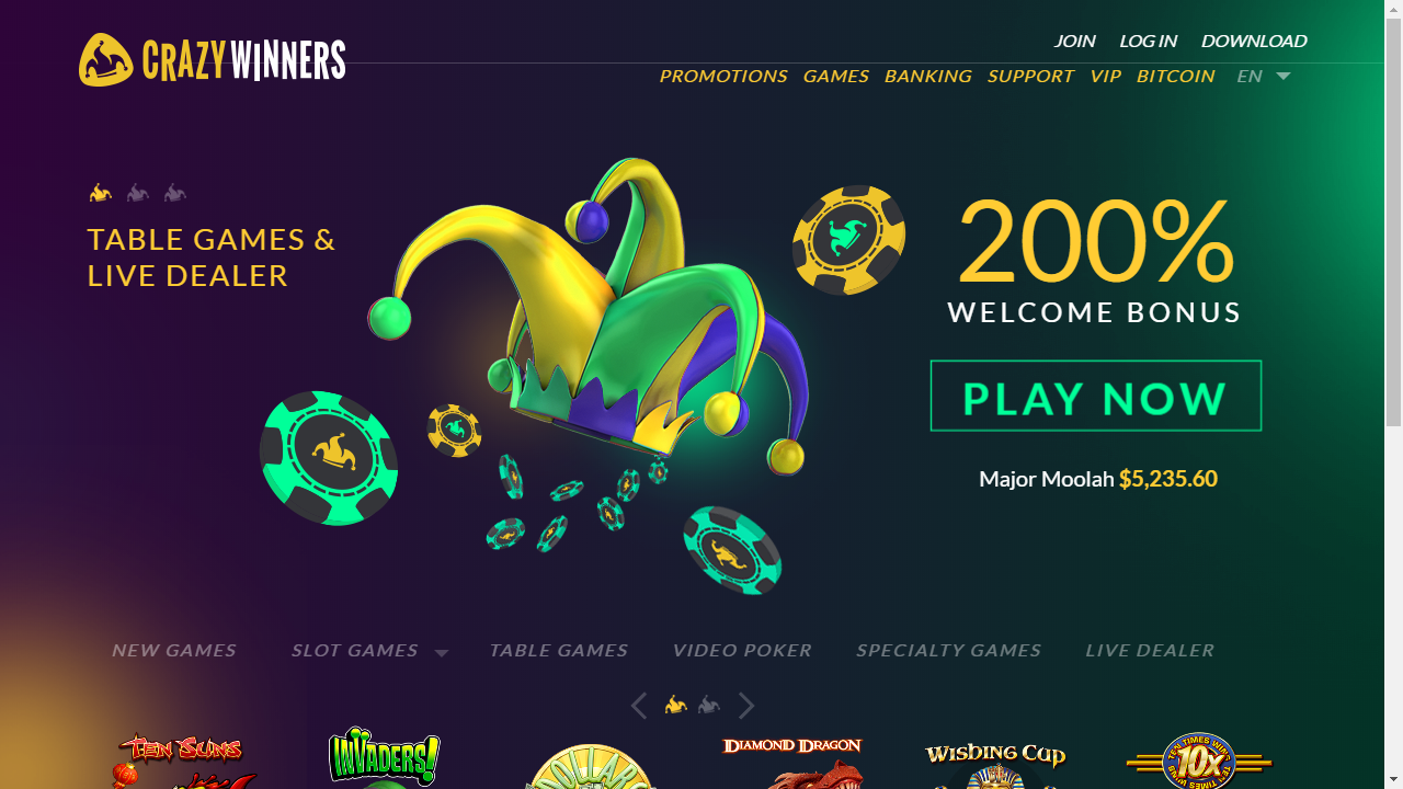 CrazyWinners Casino Homepage