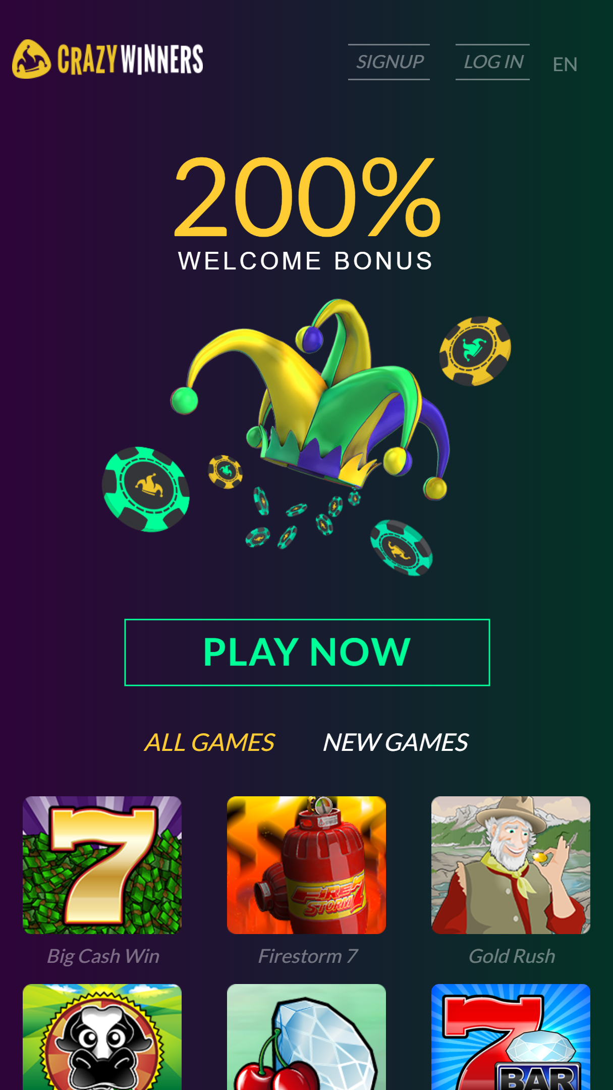 CrazyWinners Casino App Homepage