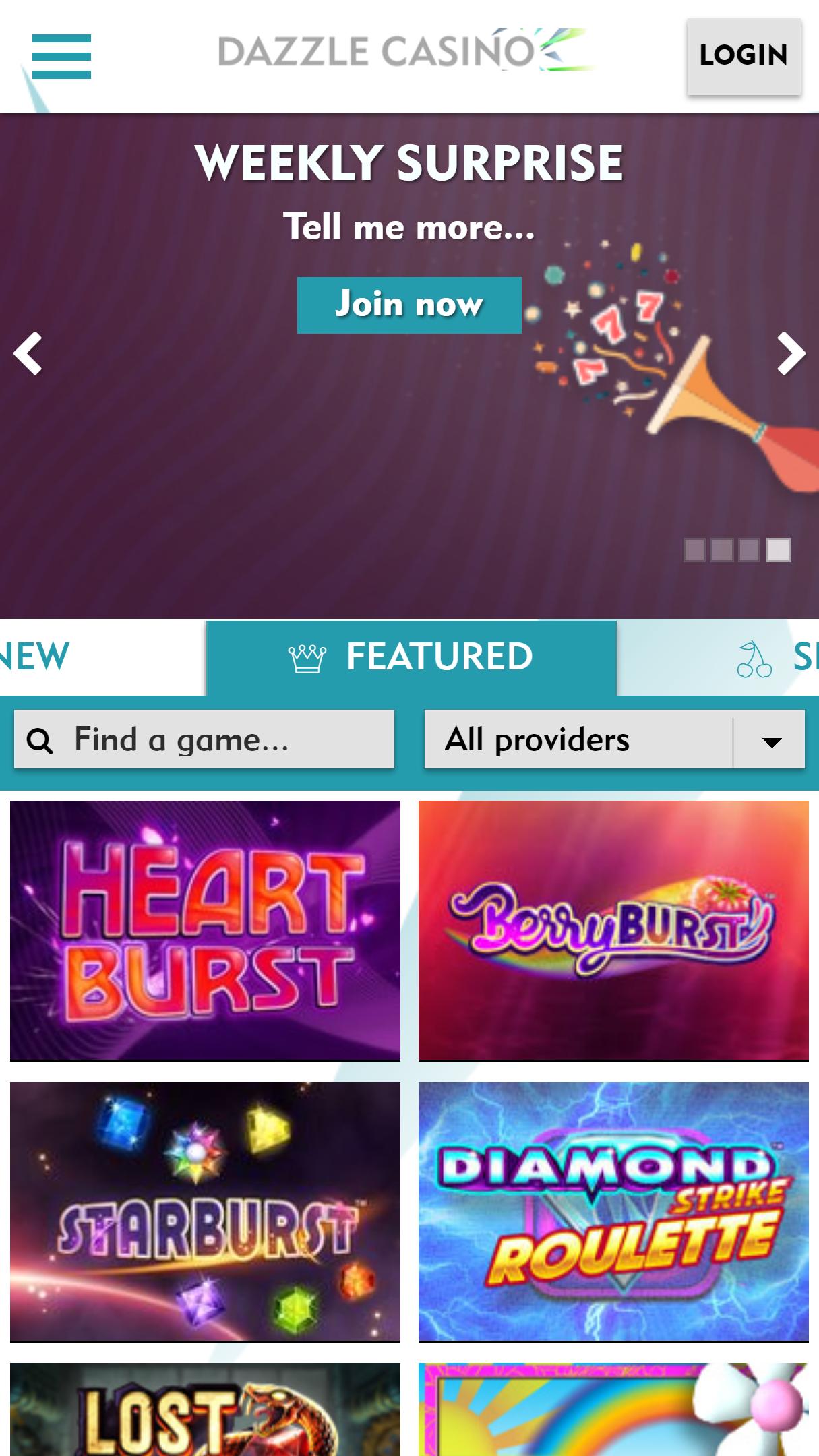 Dazzle Casino App Homepage