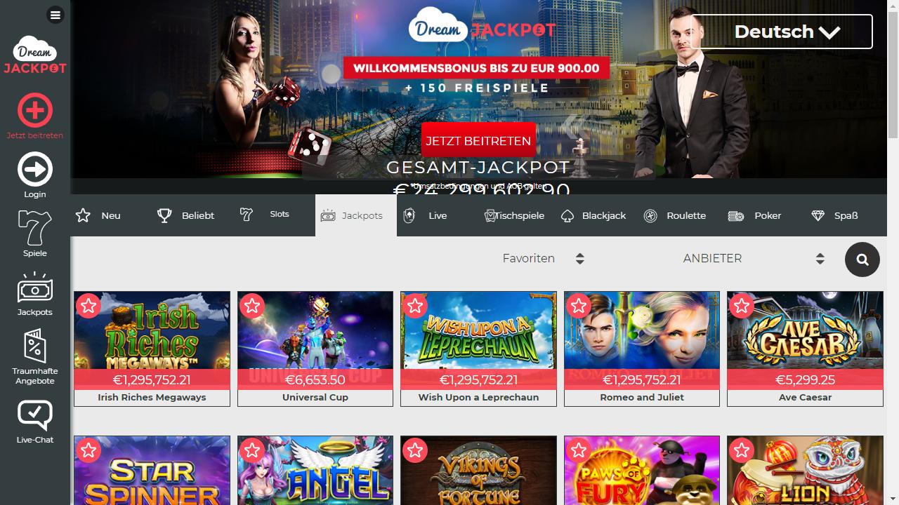 Dream Jackpot Homepage