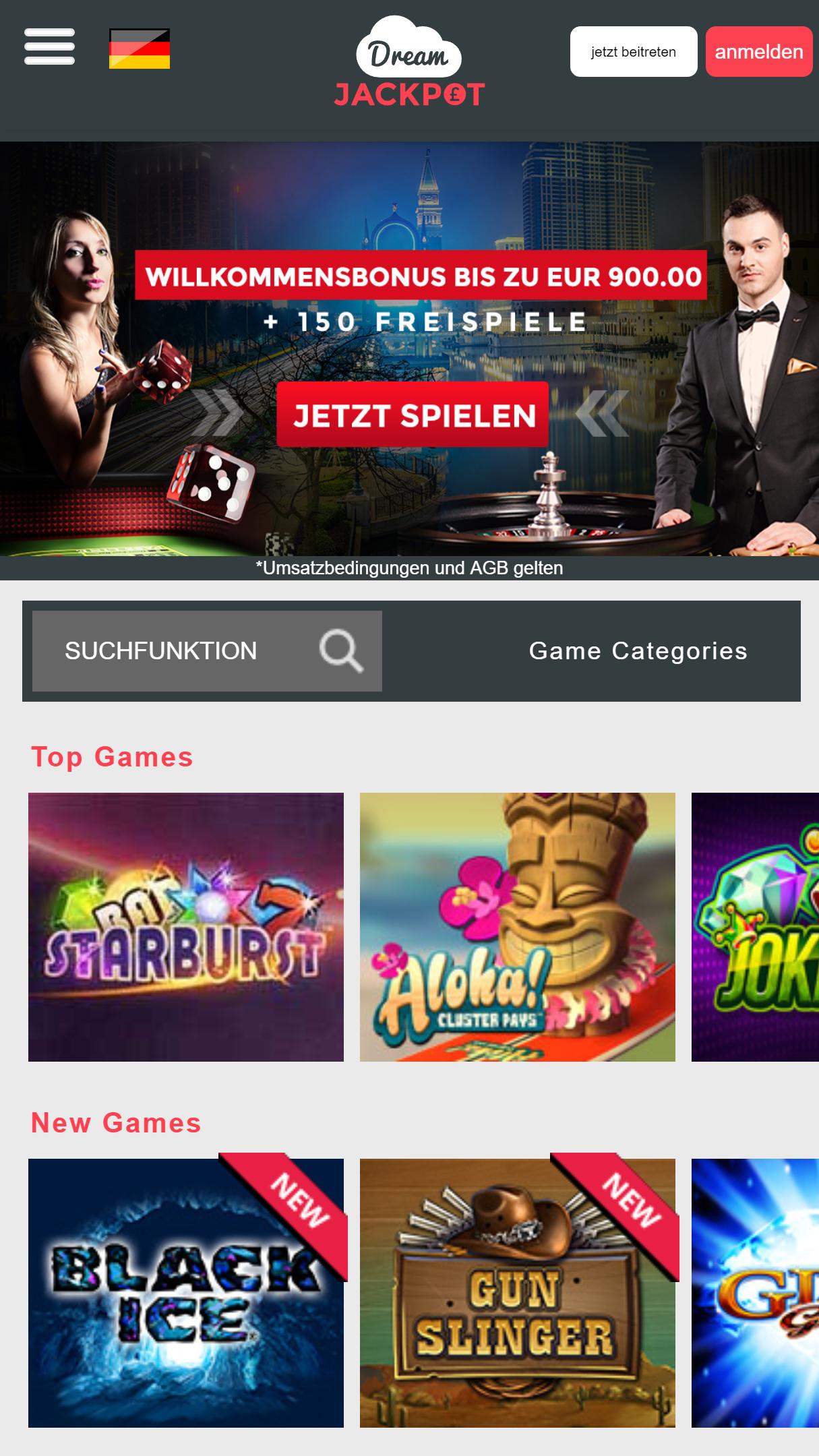 Dream Jackpot App Homepage