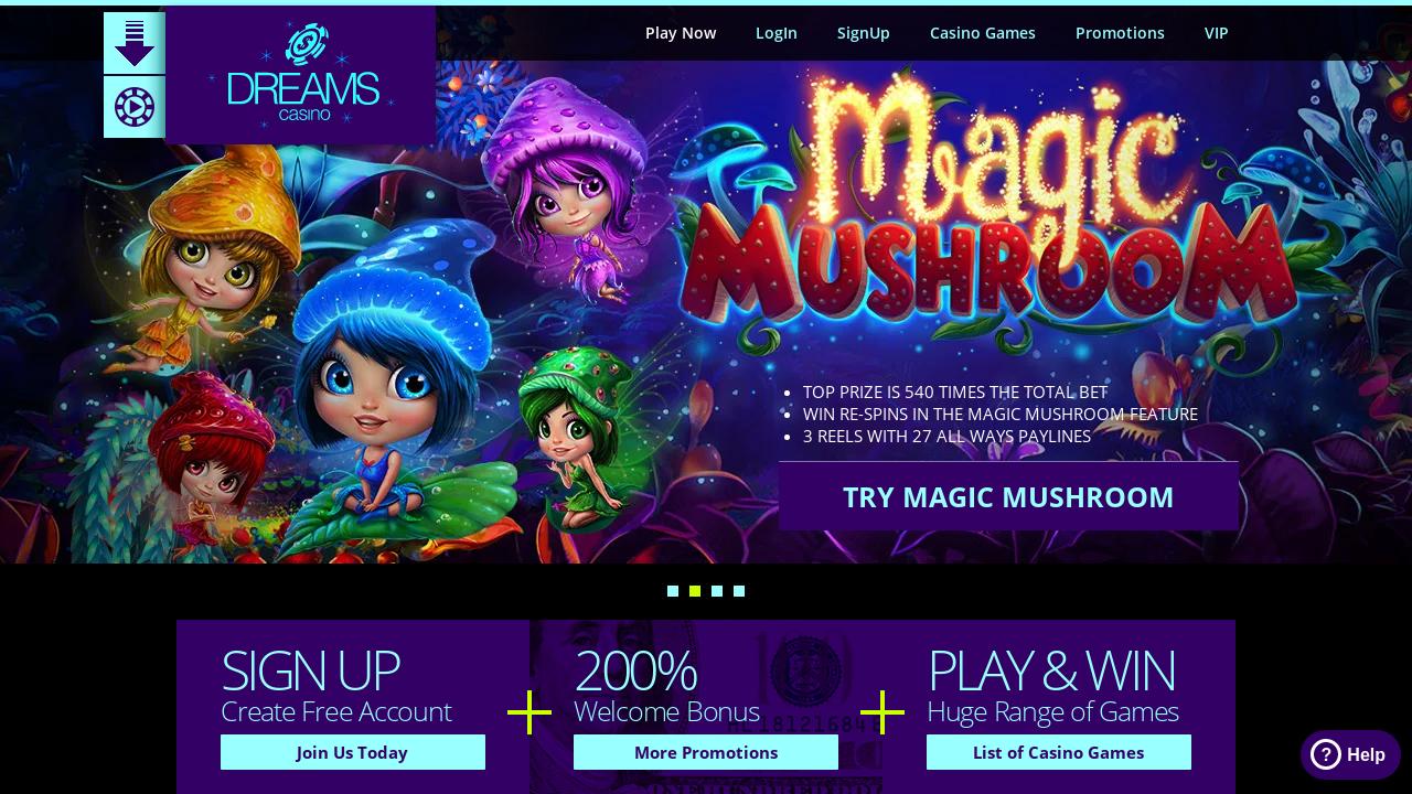 Dreams Casino App Homepage