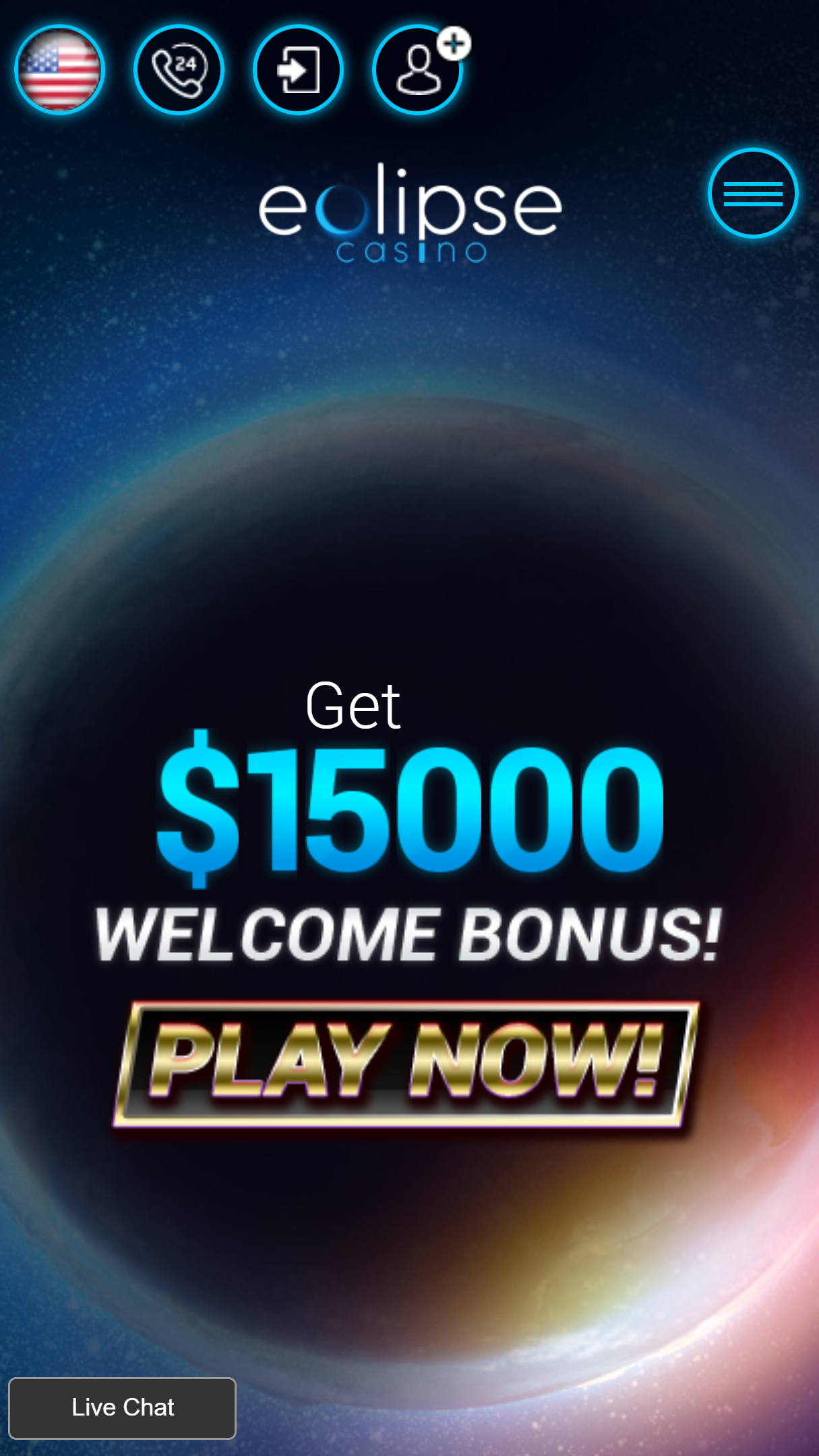 Eclipse Casino App Homepage
