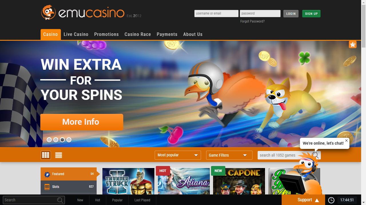EmuCasino Homepage