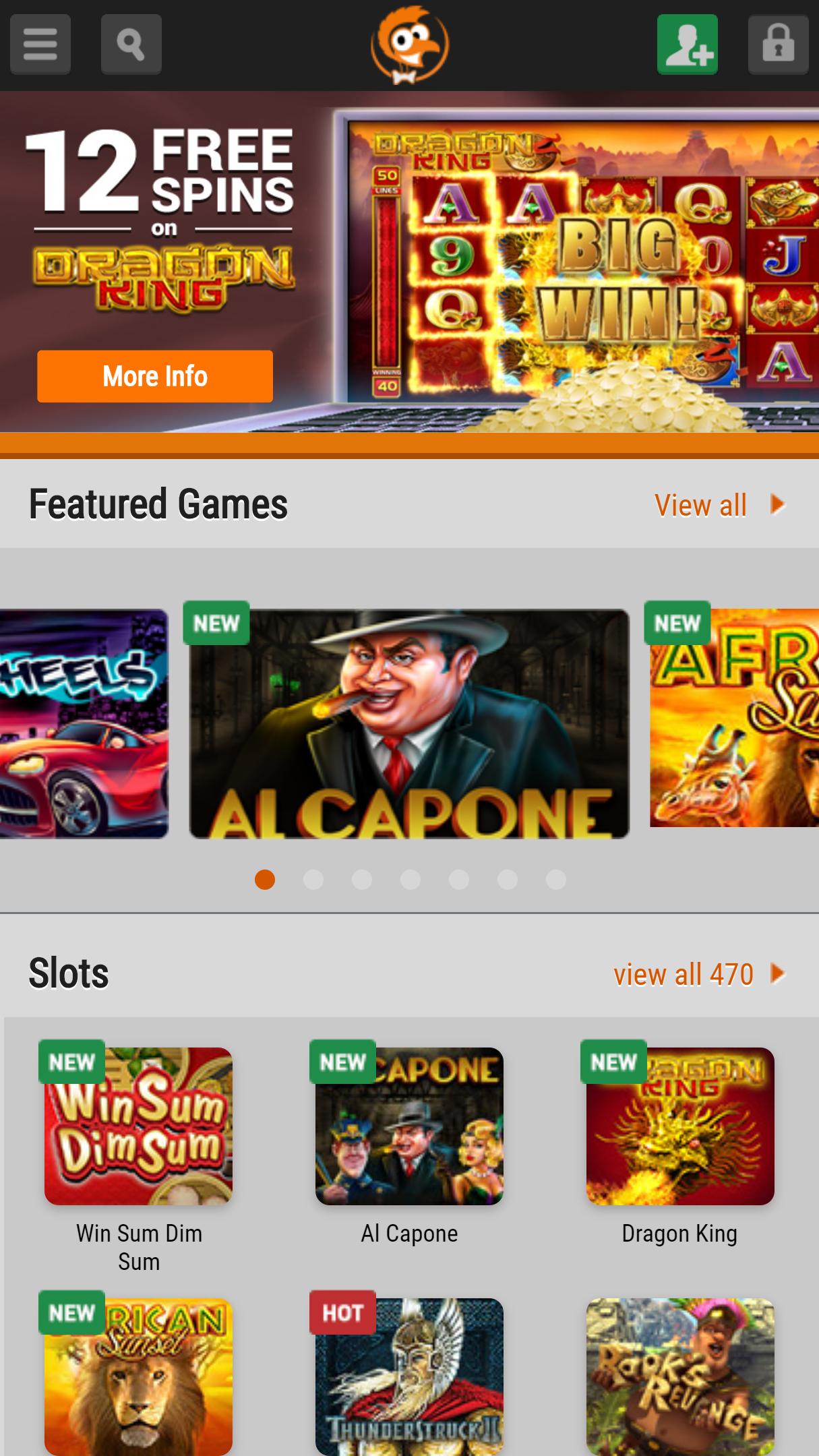 EmuCasino App Homepage