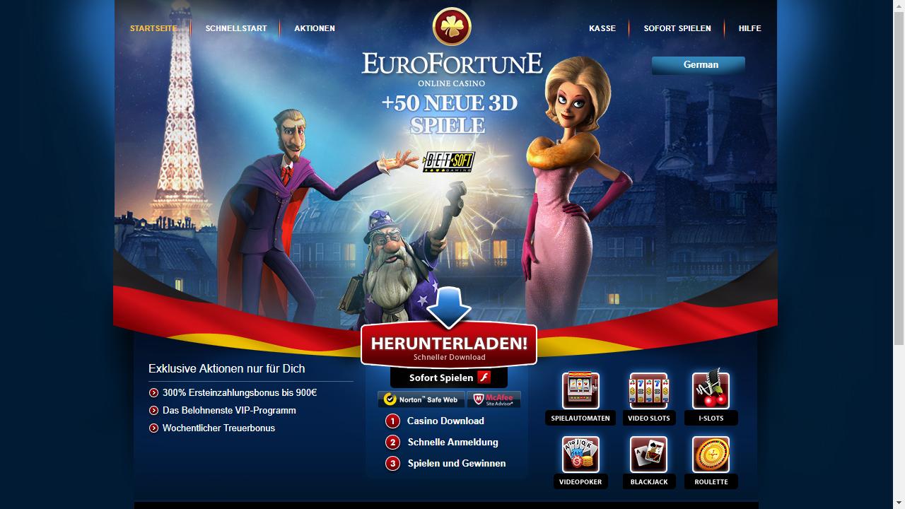 EuroFortune Casino Homepage
