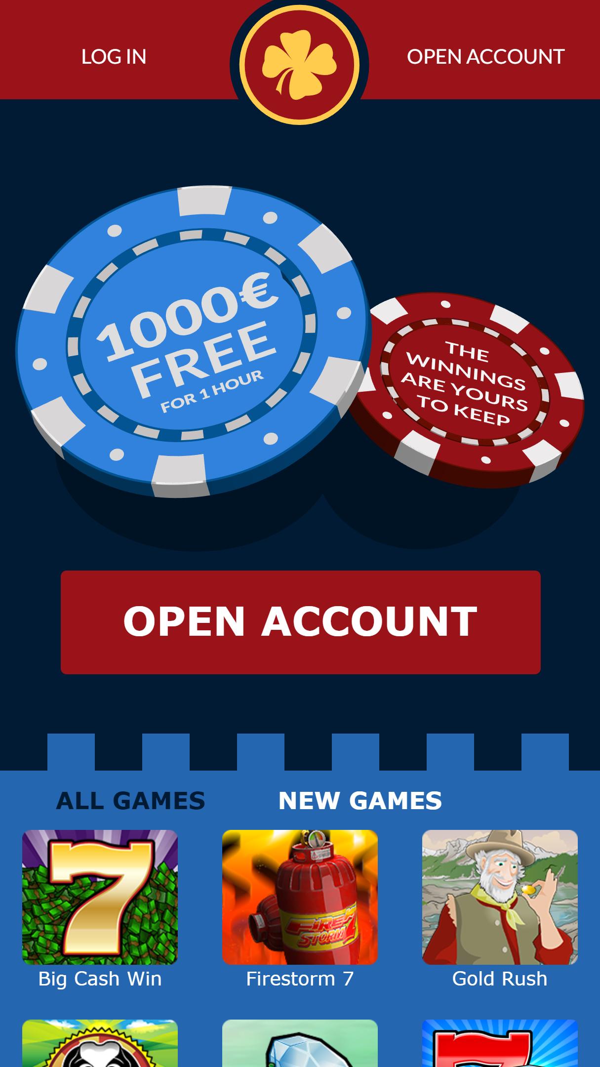EuroFortune Casino App Homepage
