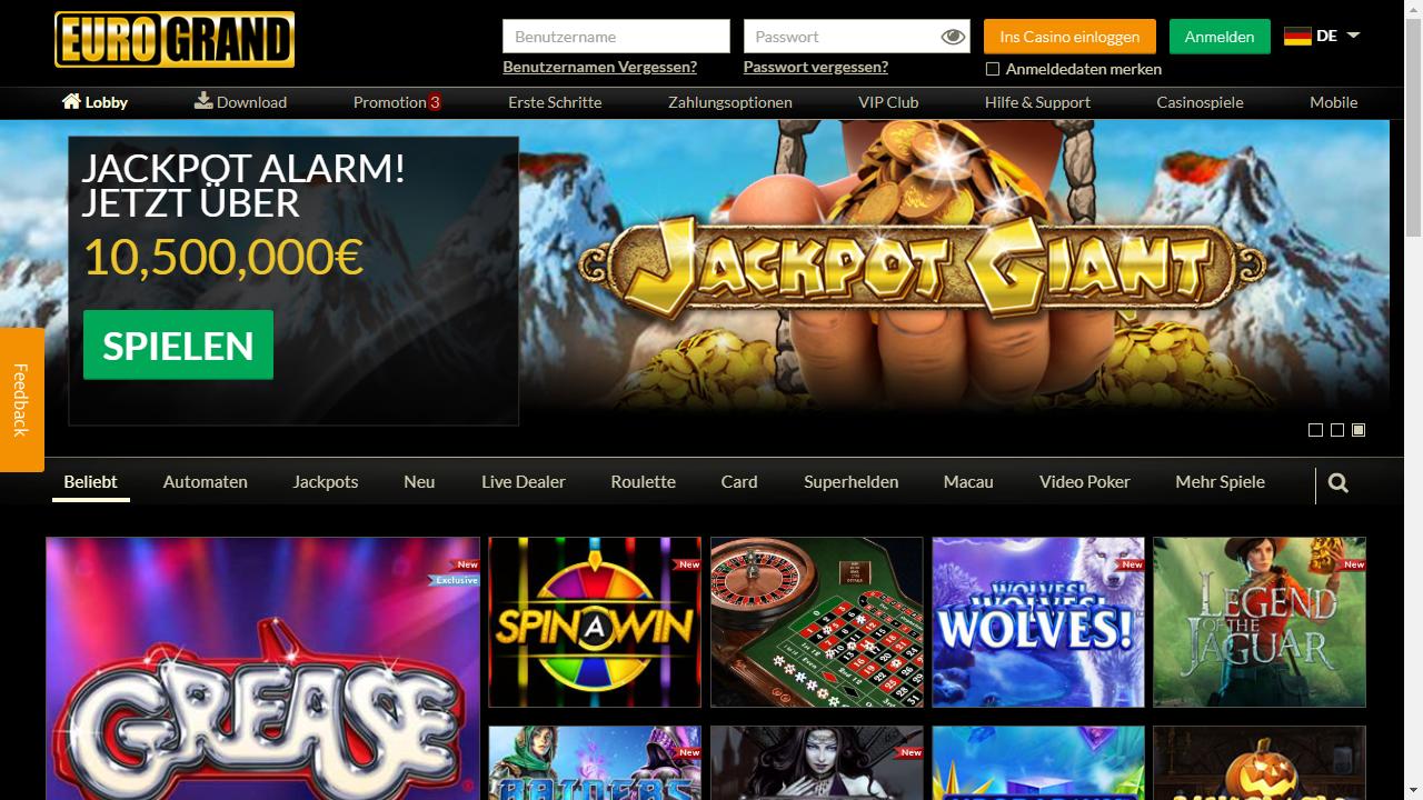 Eurogrand Casino Homepage
