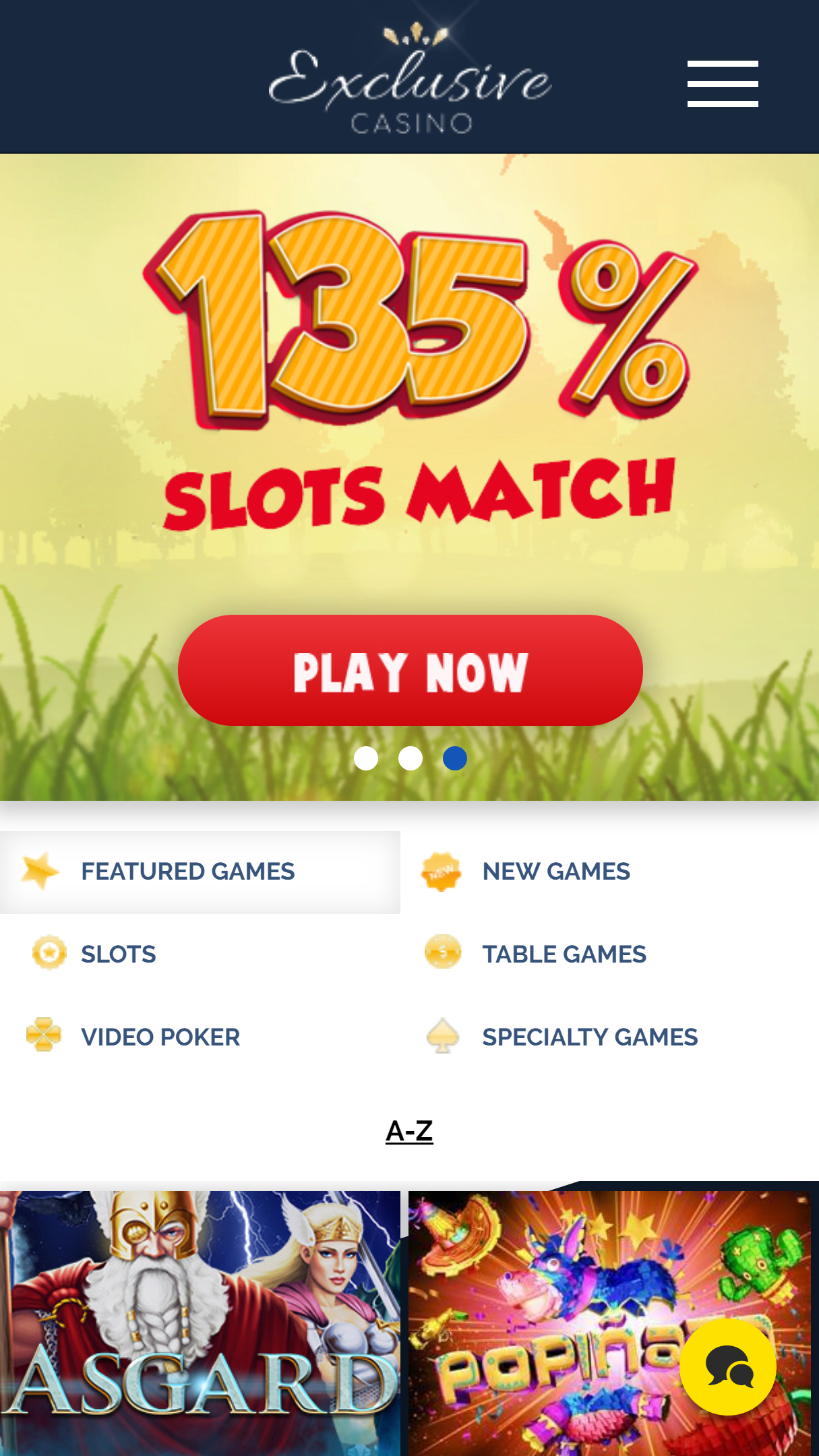 Exclusive Casino App Homepage