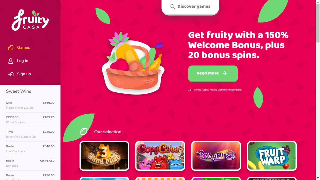 Fruity Casa Casino Homepage
