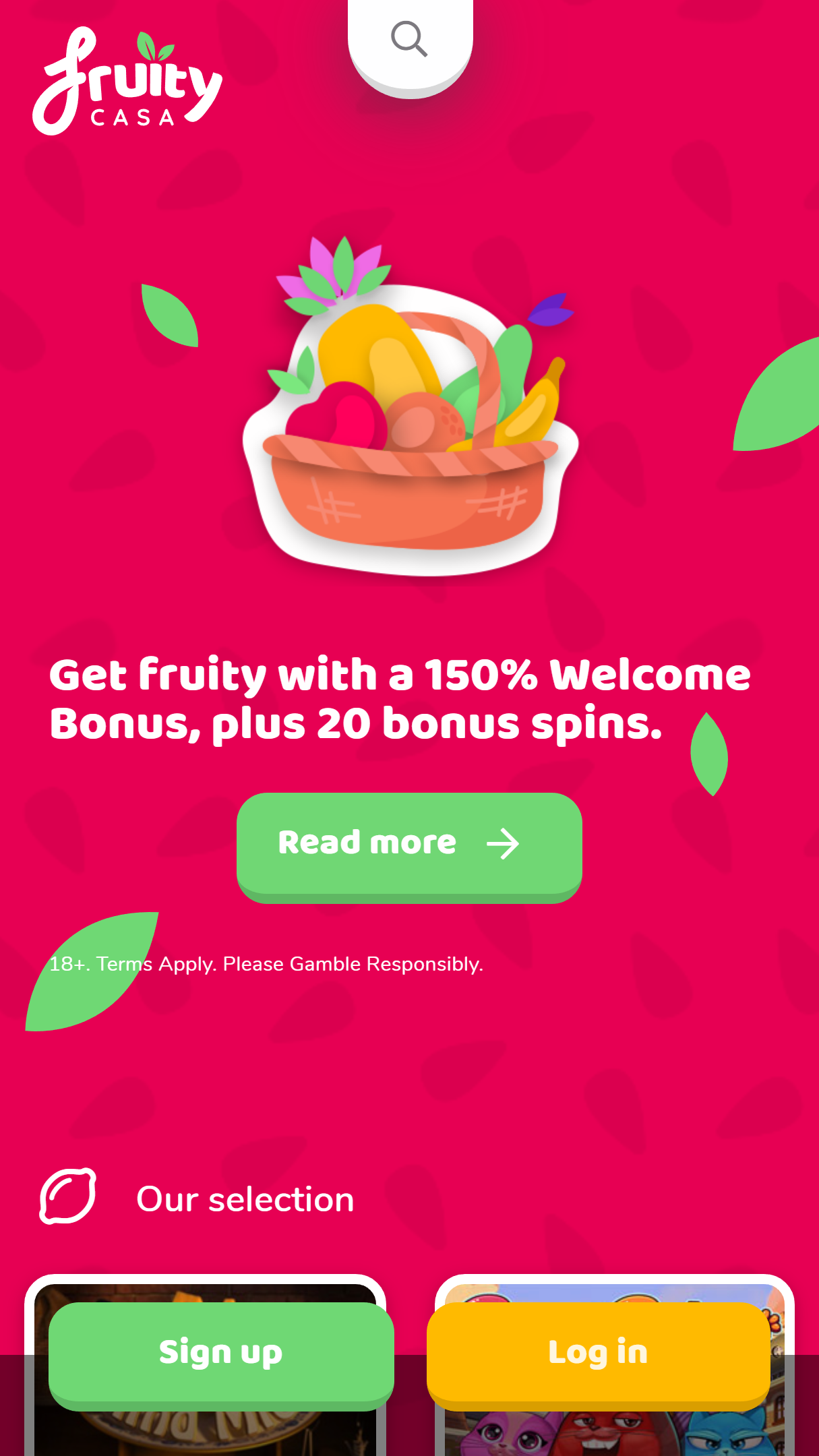 Fruity Casa Casino App Homepage